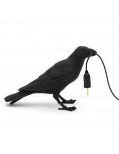 SELETTI Bird lamp Waiting Indoor Black